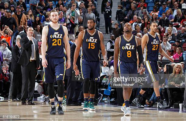 Gordon Hayward Derrick Favors Shelvin Mack and Rudy Gobert of the Utah Jazz face off against the Sacramento Kings on March 13 2016 at Sleep Train...