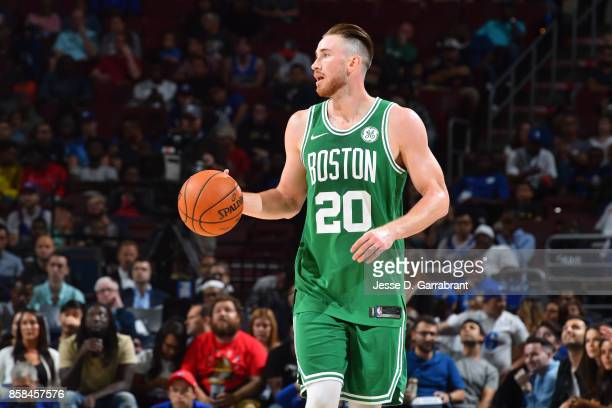 Gordon Hayward of the Boston Celtics brings the ball up court during the game against the Philadelphia 76ers during a preseason on October 6 2017 at...