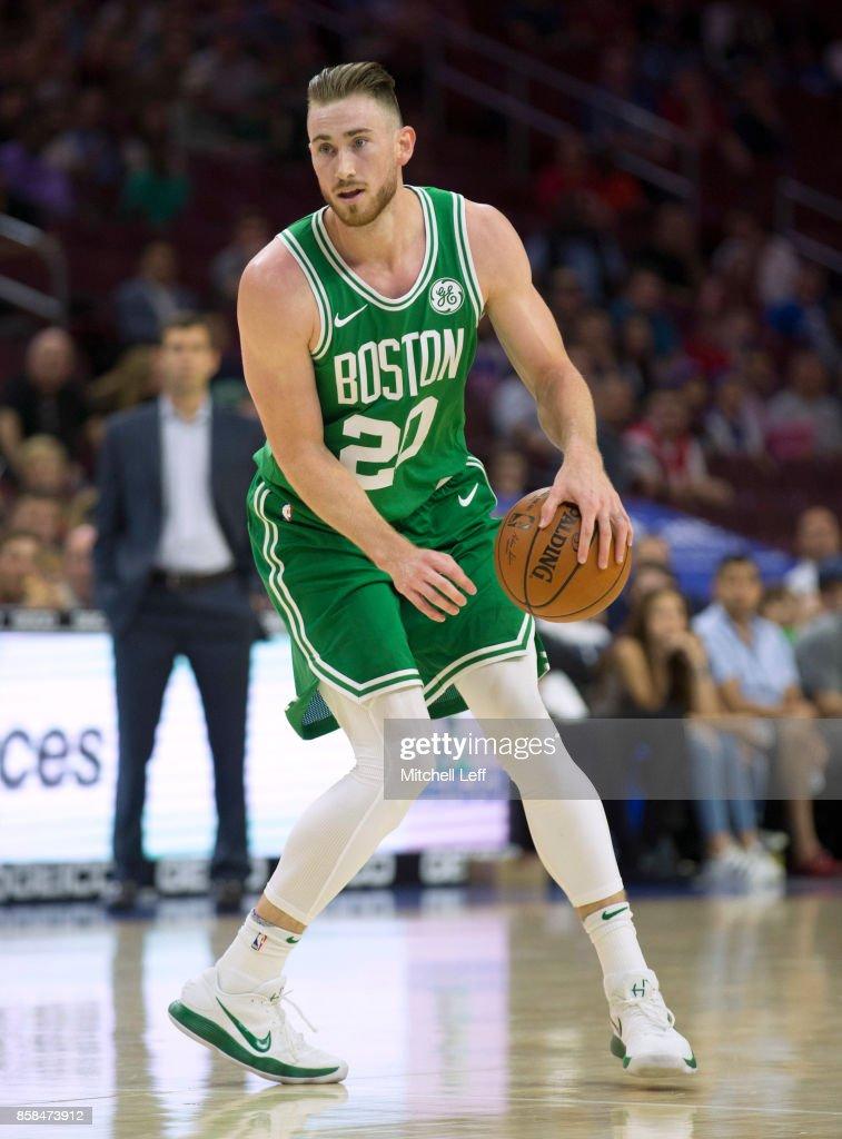 Gordon Hayward #20 of the Boston Celtics dribbles the ball against the Philadelphia 76ers in the first quarter of the preseason game at the Wells Fargo Center on October 6, 2017 in Philadelphia, Pennsylvania. The Celtics defeated the 76ers 110-102.
