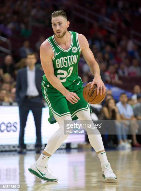 Gordon Hayward of the Boston Celtics dribbles the ball against the Philadelphia 76ers in the first quarter of the preseason game at the Wells Fargo...