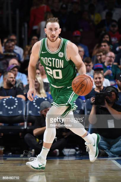 Gordon Hayward of the Boston Celtics handles the ball against the Philadelphia 76ers on October 6 2017 in Philadelphia Pennsylvania at the Wells...