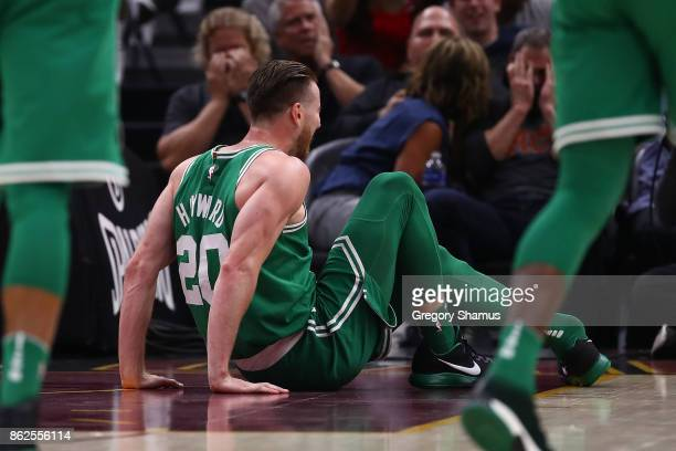 Gordon Hayward of the Boston Celtics is sits on the floor after being injured while playing the Cleveland Cavaliers at Quicken Loans Arena on October...