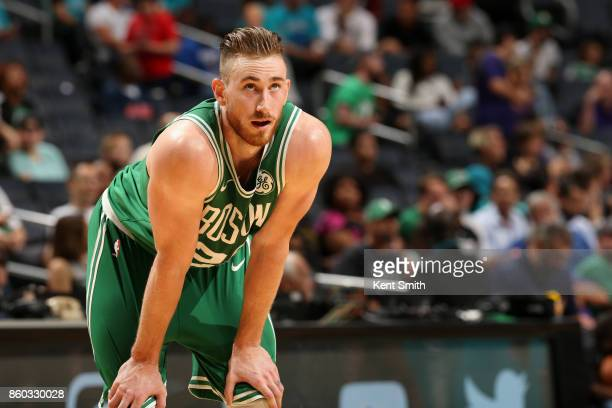 Gordon Hayward of the Boston Celtics looks on during the game against the Charlotte Hornets on October 11 2017 at Spectrum Center in Charlotte North...