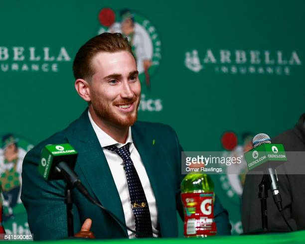 Gordon Hayward of the Boston Celtics reacts during the press conference at TD Garden on September 1 2017 in Boston Massachusetts