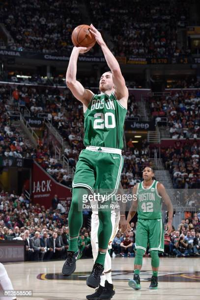 Gordon Hayward of the Boston Celtics shoots the ball against the Cleveland Cavaliers on October 17 2017 at Quicken Loans Arena in Cleveland Ohio NOTE...