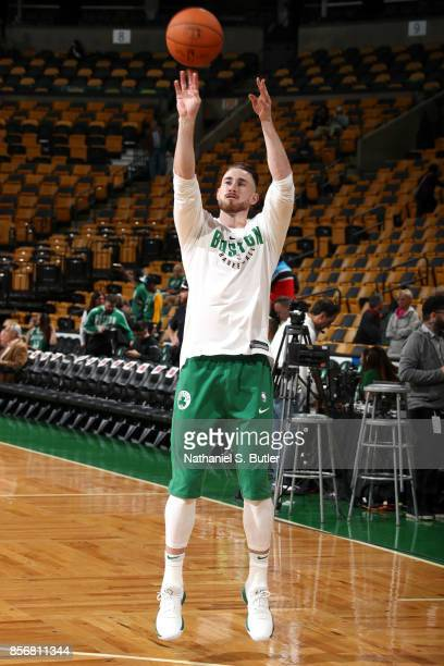 Gordon Hayward of the Boston Celtics warms up before the game against the Charlotte Hornets on October 2 2017 at the TD Garden in Boston...