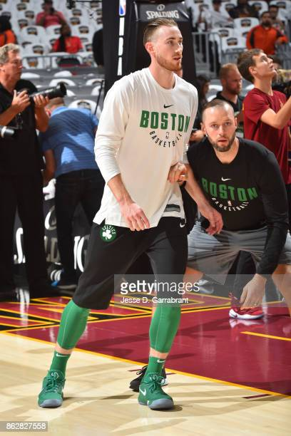 Gordon Hayward of the Boston Celtics warms up before the game against the Cleveland Cavaliers on October 17 2017 at Quicken Loans Arena in Cleveland...