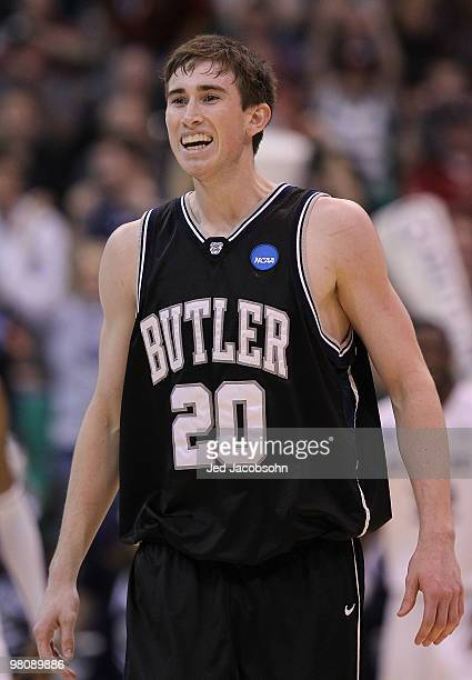 Gordon Hayward of the Butler Bulldogs celebrates against the Kansas State Wildcats during the west regional final of the 2010 NCAA men's basketball...