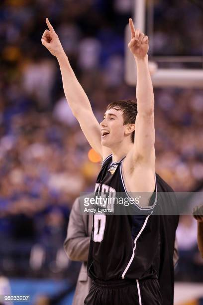 Gordon Hayward of the Butler Bulldogs reacts after defeating the Michigan State Spartans 5250 guring the National Semifinal game of the 2010 NCAA...