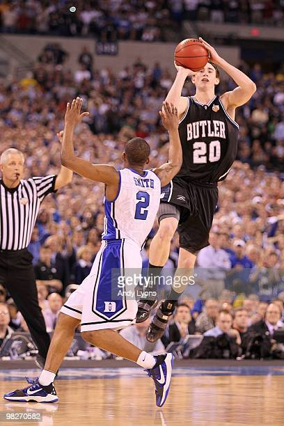 Gordon Hayward of the Butler Bulldogs shoots a last second shot from half court over Nolan Smith of the Duke Blue Devils that missed during the 2010...