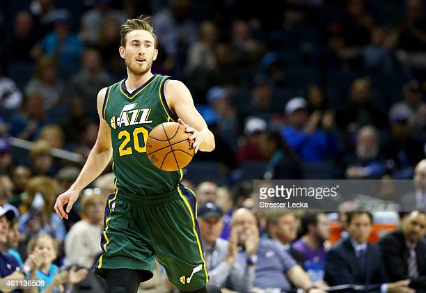 Gordon Hayward of the Utah Jazz against the Charlotte Hornets during their game at Time Warner Cable Arena on December 20 2014 in Charlotte North...