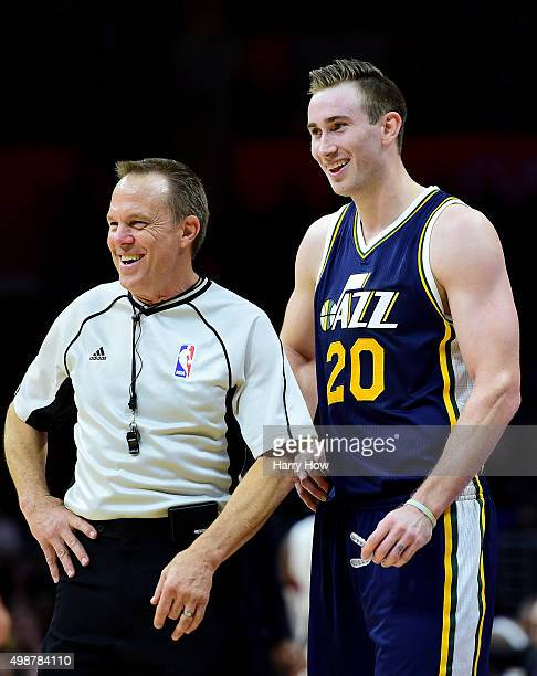 Gordon Hayward of the Utah Jazz and referee Bill Spooner laugh during a Jazz win over the Los Angeles Clippers at Staples Center on November 25 2015...