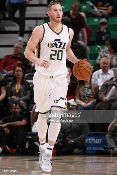 Gordon Hayward of the Utah Jazz brings the ball up court against the Washington Wizards during the game on March 31 2017 at vivintSmartHome Arena in...