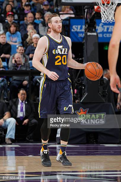 Gordon Hayward of the Utah Jazz brings the ball up the court against the Sacramento Kings on March 13 2016 at Sleep Train Arena in Sacramento...