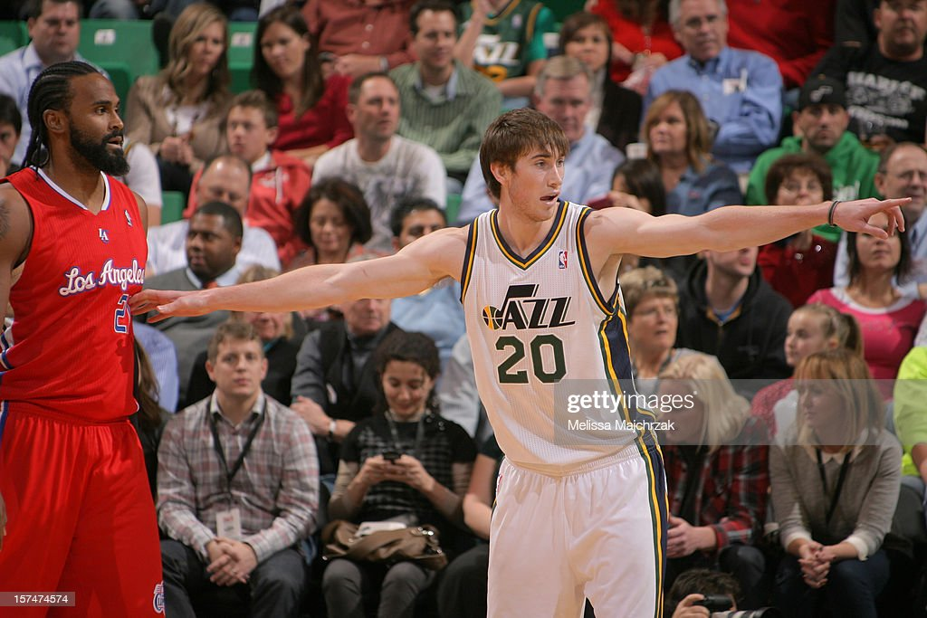 Gordon Hayward #20 of the Utah Jazz calls out plays during play against Ronny Turiaf #21 and the Los Angeles Clippers at Energy Solutions Arena on December 03, 2012 in Salt Lake City, Utah.