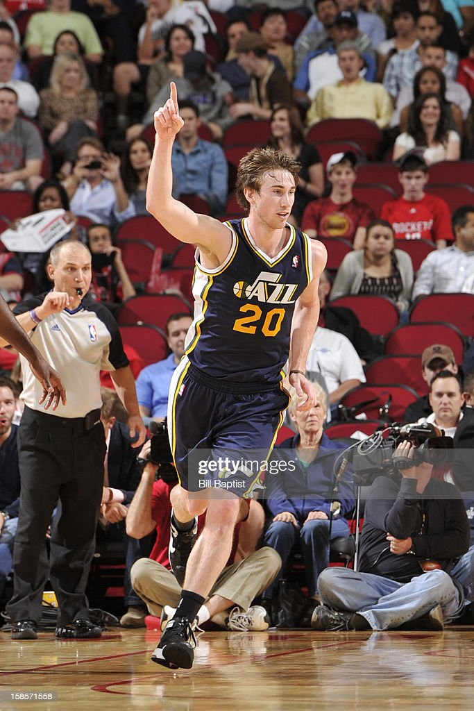 <a gi-track='captionPersonalityLinkClicked' href=/galleries/search?phrase=Gordon+Hayward&family=editorial&specificpeople=5767271 ng-click='$event.stopPropagation()'>Gordon Hayward</a> #20 of the Utah Jazz celebrates a shot against the Houston Rockets on December 1, 2012 at the Toyota Center in Houston, Texas.
