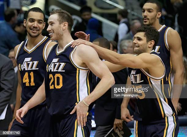 Gordon Hayward of the Utah Jazz celebrates withTrey Lyles of the Utah Jazz and Raul Neto of the Utah Jazz after shooting the game winning basket...