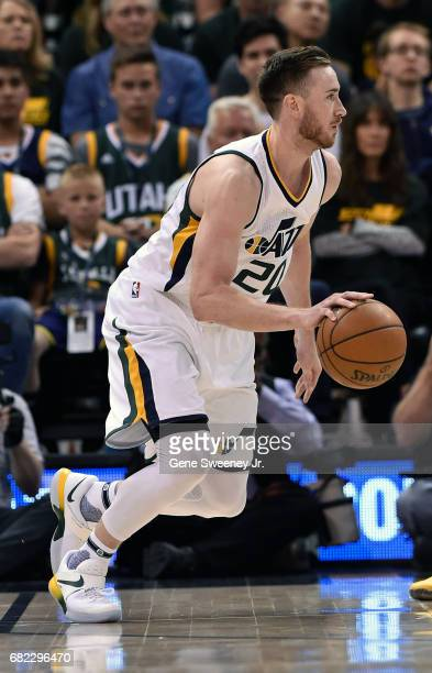 Gordon Hayward of the Utah Jazz controls the ball against the Golden State Warriors in Game Three of the Western Conference Semifinals during the...