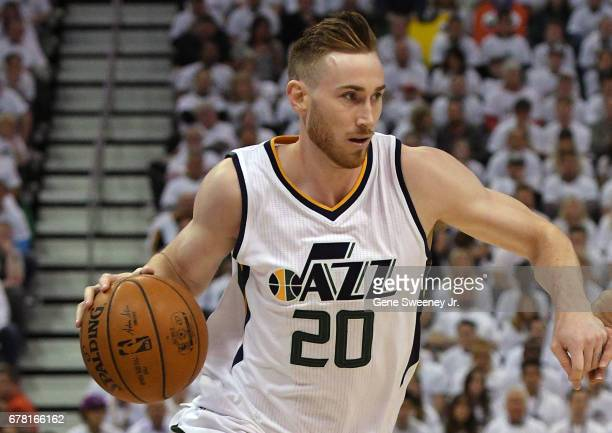 Gordon Hayward of the Utah Jazz controls the ball in the first half against the Los Angeles Clippers in Game Six of the Western Conference...