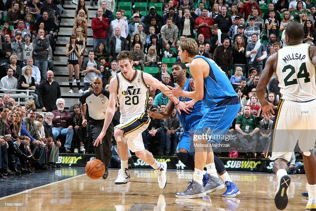 <a gi-track='captionPersonalityLinkClicked' href=/galleries/search?phrase=Gordon+Hayward&family=editorial&specificpeople=5767271 ng-click='$event.stopPropagation()'>Gordon Hayward</a> #20 of the Utah Jazz dribbles the ball up court against the Dallas Mavericks on January 7, 2013 in Salt Lake City, Utah.