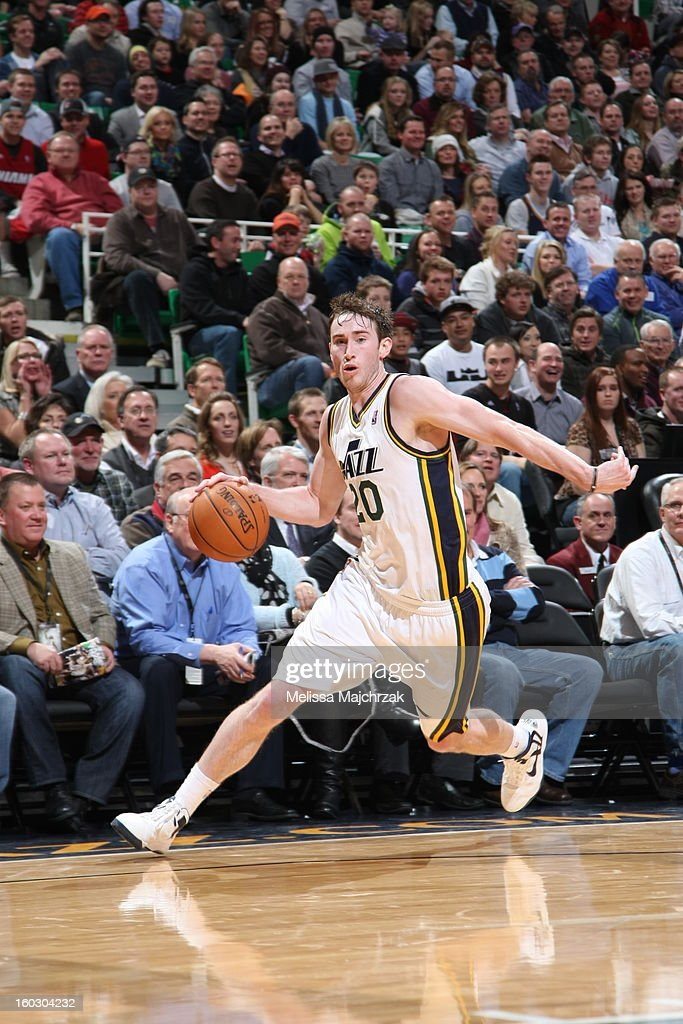 <a gi-track='captionPersonalityLinkClicked' href=/galleries/search?phrase=Gordon+Hayward&family=editorial&specificpeople=5767271 ng-click='$event.stopPropagation()'>Gordon Hayward</a> #20 of the Utah Jazz drives against the Miami Heat at Energy Solutions Arena on January 14, 2013 in Salt Lake City, Utah.