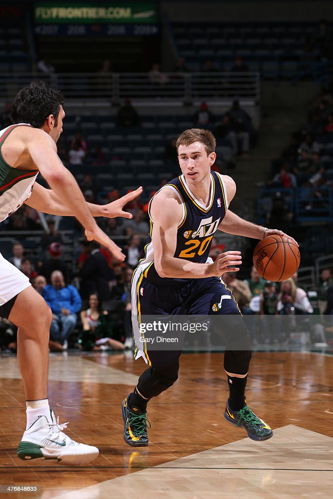 <a gi-track='captionPersonalityLinkClicked' href=/galleries/search?phrase=Gordon+Hayward&family=editorial&specificpeople=5767271 ng-click='$event.stopPropagation()'>Gordon Hayward</a> #20 of the Utah Jazz drives against the Milwaukee Bucks on March 3, 2014 at the BMO Harris Bradley Center in Milwaukee, Wisconsin.