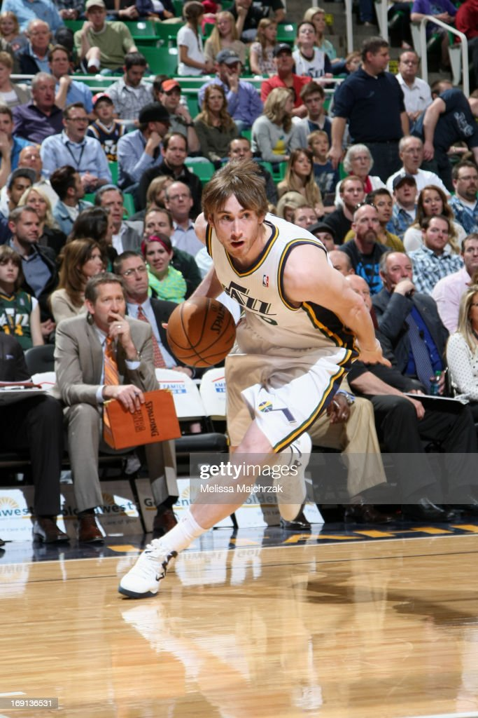 <a gi-track='captionPersonalityLinkClicked' href=/galleries/search?phrase=Gordon+Hayward&family=editorial&specificpeople=5767271 ng-click='$event.stopPropagation()'>Gordon Hayward</a> #20 of the Utah Jazz drives against the Minnesota Timberwolves at Energy Solutions Arena on April 12, 2013 in Salt Lake City, Utah.