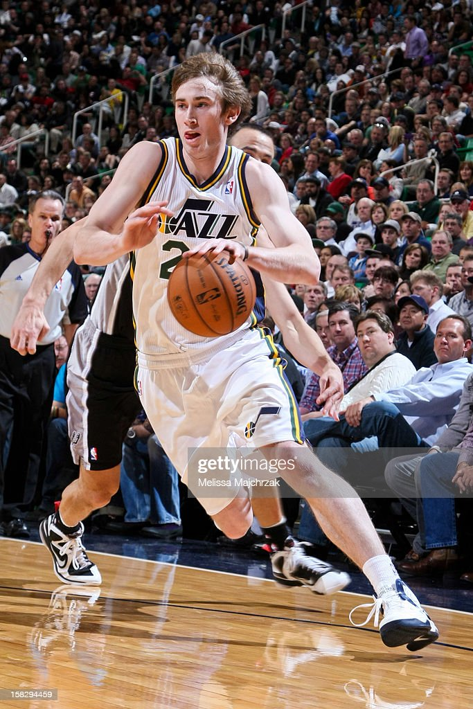 <a gi-track='captionPersonalityLinkClicked' href=/galleries/search?phrase=Gordon+Hayward&family=editorial&specificpeople=5767271 ng-click='$event.stopPropagation()'>Gordon Hayward</a> #20 of the Utah Jazz drives against the San Antonio Spurs at Energy Solutions Arena on December 12, 2012 in Salt Lake City, Utah.