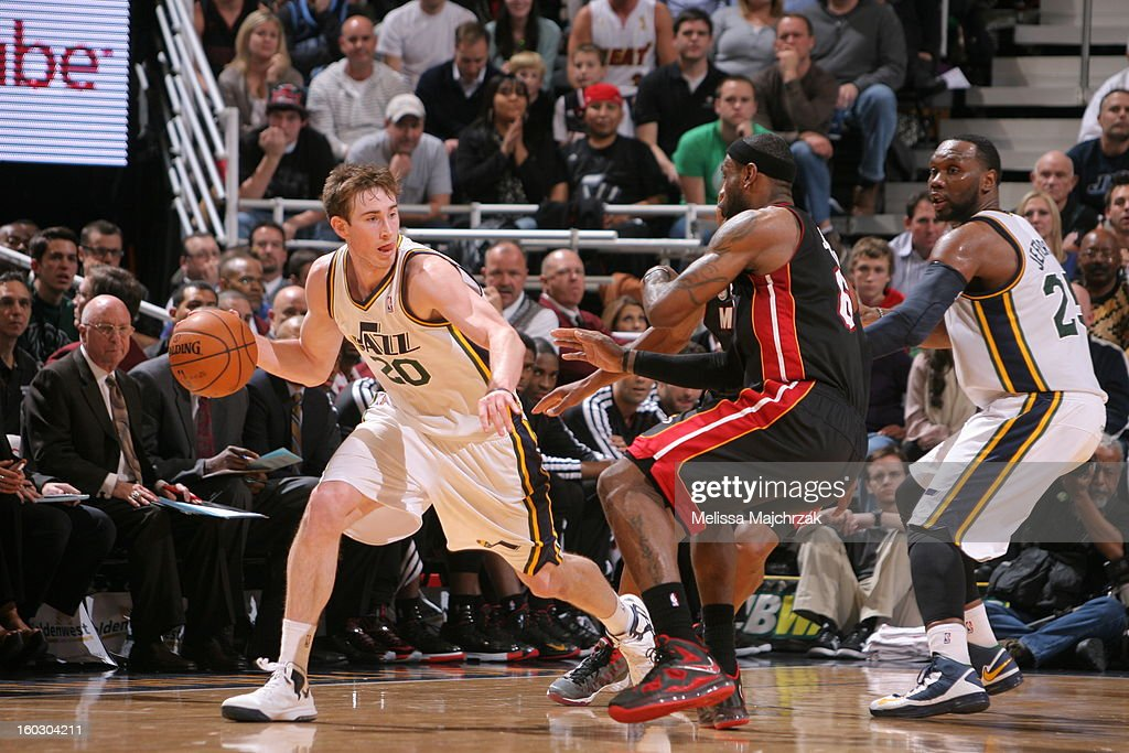 <a gi-track='captionPersonalityLinkClicked' href=/galleries/search?phrase=Gordon+Hayward&family=editorial&specificpeople=5767271 ng-click='$event.stopPropagation()'>Gordon Hayward</a> #20 of the Utah Jazz drives around <a gi-track='captionPersonalityLinkClicked' href=/galleries/search?phrase=LeBron+James&family=editorial&specificpeople=201474 ng-click='$event.stopPropagation()'>LeBron James</a> #6 of the Miami Heat at Energy Solutions Arena on January 14, 2013 in Salt Lake City, Utah.