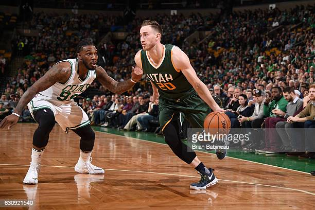 Gordon Hayward of the Utah Jazz drives to the basket against Jae Crowder of the Boston Celtics during the game on January 3 2017 at the TD Garden in...