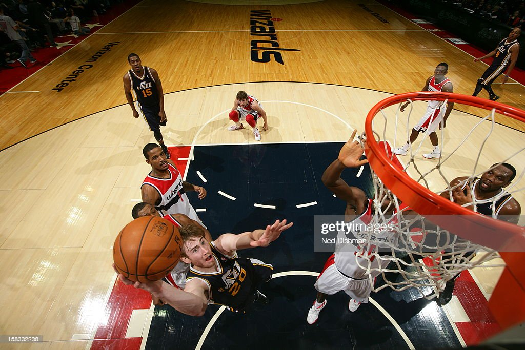 <a gi-track='captionPersonalityLinkClicked' href=/galleries/search?phrase=Gordon+Hayward&family=editorial&specificpeople=5767271 ng-click='$event.stopPropagation()'>Gordon Hayward</a> #20 of the Utah Jazz drives to the basket against the Washington Wizards at the Verizon Center on November 17, 2012 in Washington, DC.