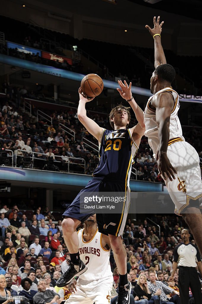 <a gi-track='captionPersonalityLinkClicked' href=/galleries/search?phrase=Gordon+Hayward&family=editorial&specificpeople=5767271 ng-click='$event.stopPropagation()'>Gordon Hayward</a> #20 of the Utah Jazz drives to the basket against the Cleveland Cavaliers at The Quicken Loans Arena on March 6, 2013 in Cleveland, Ohio.