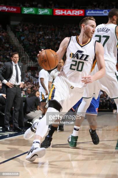 Gordon Hayward of the Utah Jazz drives to the basket against the New York Knicks on March 22 2017 at vivintSmartHome Arena in Salt Lake City Utah...