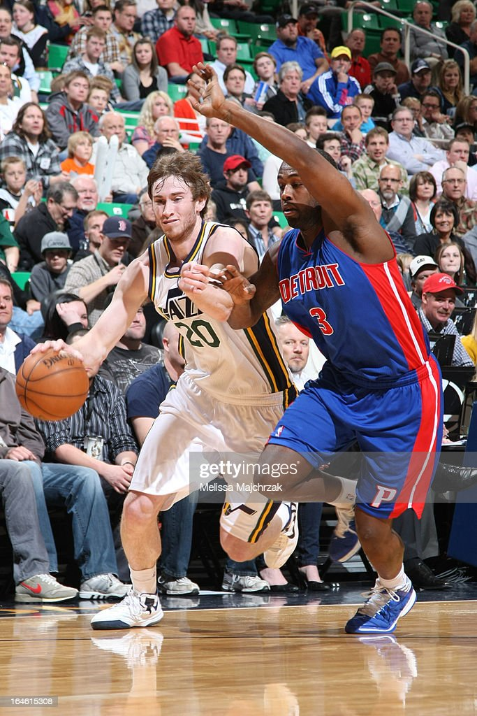 <a gi-track='captionPersonalityLinkClicked' href=/galleries/search?phrase=Gordon+Hayward&family=editorial&specificpeople=5767271 ng-click='$event.stopPropagation()'>Gordon Hayward</a> #20 of the Utah Jazz drives to the basket against the Detroit Pistons on March 11, 2013 in Salt Lake City, Utah.