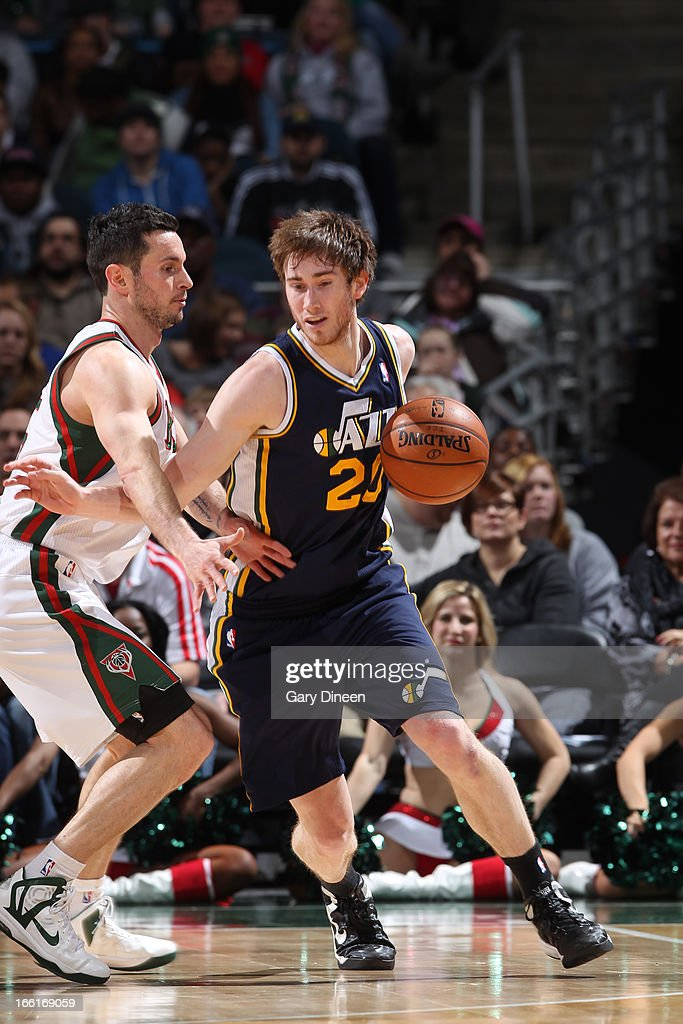 <a gi-track='captionPersonalityLinkClicked' href=/galleries/search?phrase=Gordon+Hayward&family=editorial&specificpeople=5767271 ng-click='$event.stopPropagation()'>Gordon Hayward</a> #20 of the Utah Jazz drives to the basket against the Milwaukee Bucks on March 4, 2013 at the BMO Harris Bradley Center in Milwaukee, Wisconsin.