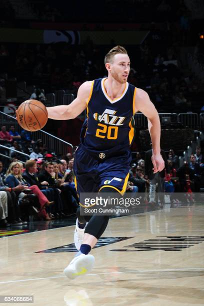 Gordon Hayward of the Utah Jazz drives to the basket against the Atlanta Hawks on February 6 2017 at Philips Arena in Atlanta Georgia NOTE TO USER...
