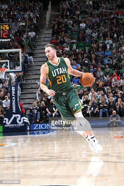 Gordon Hayward of the Utah Jazz drives to the basket against the Sacramento Kings during the game on December 10 2016 at vivintSmartHome Arena in...