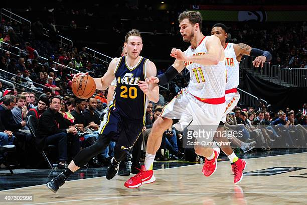 Gordon Hayward of the Utah Jazz drives to the basket during the game on November 15 2015 at Philips Center in Atlanta Georgia NOTE TO USER User...