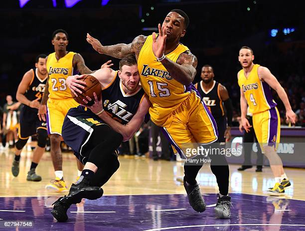 Gordon Hayward of the Utah Jazz drives to the basket on Thomas Robinson of the Los Angeles Lakers during the second half of a 107101 Jazz win at...