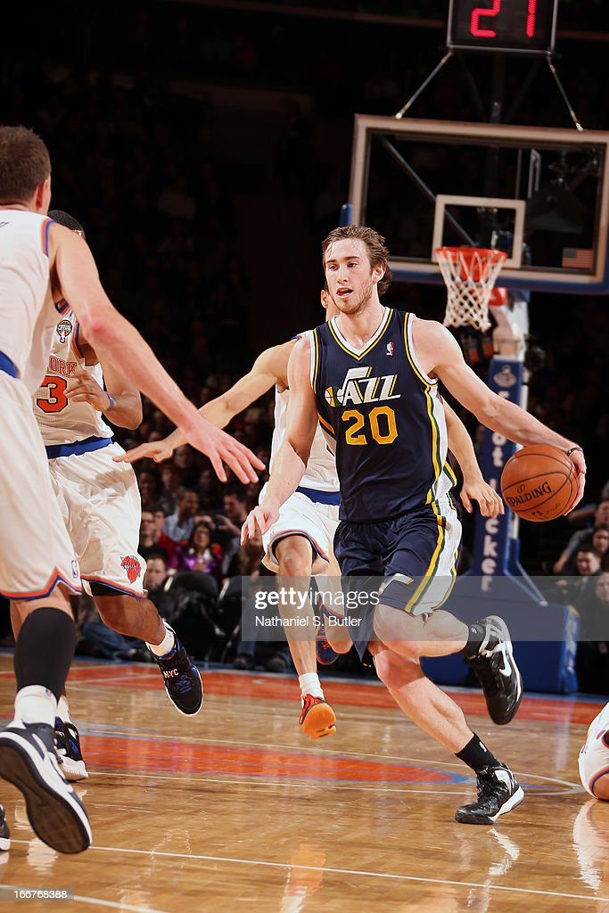<a gi-track='captionPersonalityLinkClicked' href=/galleries/search?phrase=Gordon+Hayward&family=editorial&specificpeople=5767271 ng-click='$event.stopPropagation()'>Gordon Hayward</a> #20 of the Utah Jazz drives up-court against the New York Knicks on March 9, 2013 at Madison Square Garden in New York City.