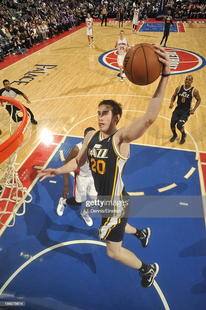 <a gi-track='captionPersonalityLinkClicked' href=/galleries/search?phrase=Gordon+Hayward&family=editorial&specificpeople=5767271 ng-click='$event.stopPropagation()'>Gordon Hayward</a> #20 of the Utah Jazz dunks against the Detroit Pistons on January 12, 2013 at The Palace of Auburn Hills in Auburn Hills, Michigan.