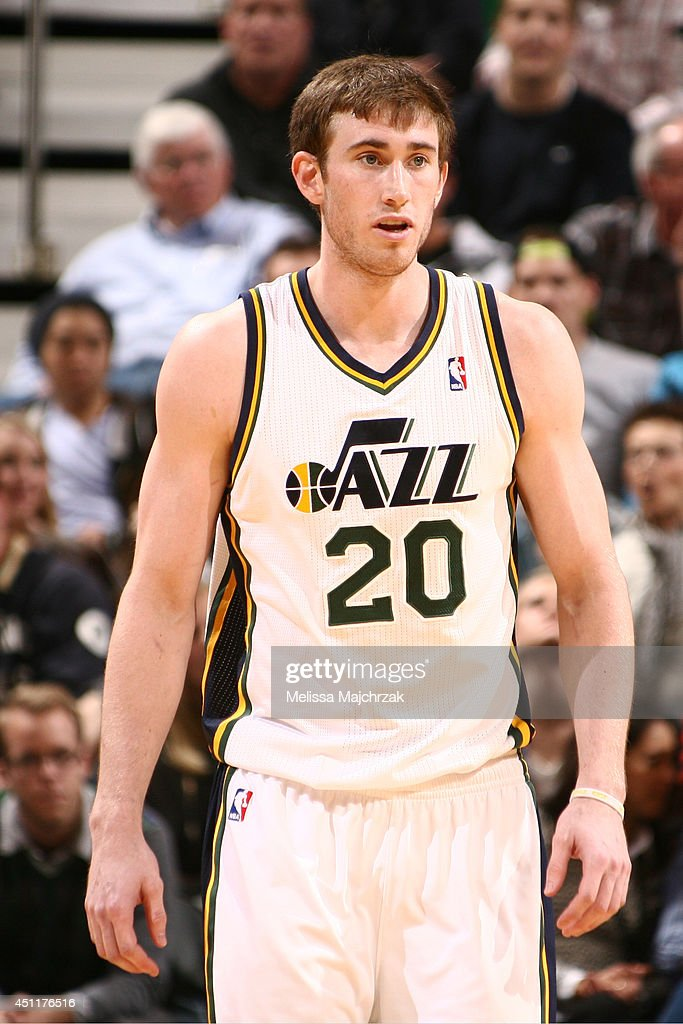 Gordon Hayward #20 of the Utah Jazz during the game against the New Orleans Pelicans at EnergySolutions Arena on April 04, 2014 in Salt Lake City, Utah.