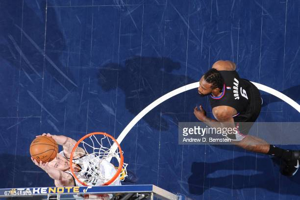 Gordon Hayward of the Utah Jazz goes for a dunk during the game against the Los Angeles Clippers during the Western Conference Quarterfinals of the...