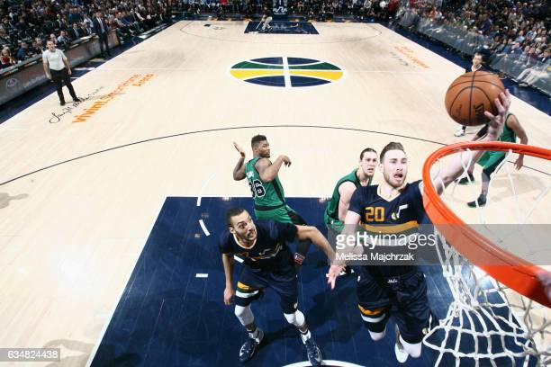 Gordon Hayward of the Utah Jazz goes to the basket against the Boston Celtics on February 11 2017 at vivintSmartHome Arena in Salt Lake City Utah...