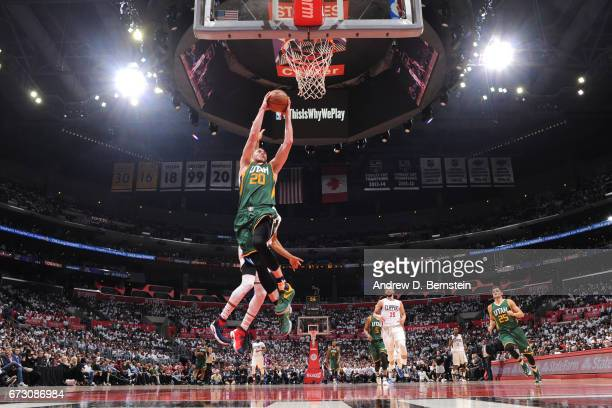 Gordon Hayward of the Utah Jazz goes to the basket against the LA Clippers in Game Five of the Western Conference Quarterfinals of the 2017 NBA...