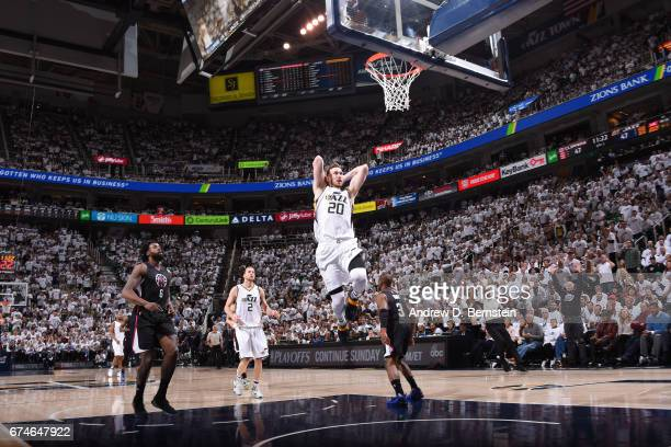 Gordon Hayward of the Utah Jazz goes to the basket against the Los Angeles Clippers during Game Six of the Western Conference Quarterfinals of the...