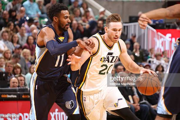 Gordon Hayward of the Utah Jazz handles the ball against Mike Conley of the Memphis Grizzlies on November 7 2015 at Vivint Smart Home Arena in Salt...