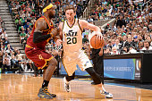 Gordon Hayward of the Utah Jazz handles the ball against the Cleveland Cavaliers at EnergySolutions Arena on November 5 2014 in Salt Lake City Utah...