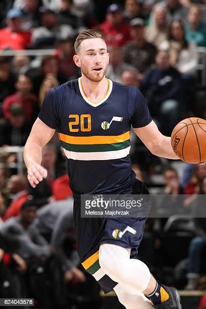 Gordon Hayward of the Utah Jazz handles the ball against the Chicago Bulls on November 17 2016 at vivintSmartHome Arena in Salt Lake City Utah NOTE...