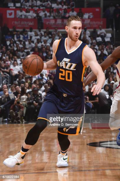 Gordon Hayward of the Utah Jazz handles the ball against the LA Clippers during Game Two of the Western Conference Quarterfinals of the 2017 NBA...